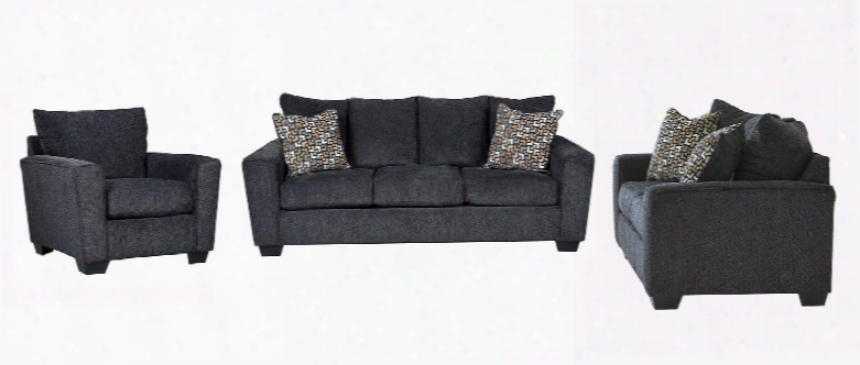 Wixon 57002slc 3-piece Living Room Set With Sofa Loveseat And Chair In Slate