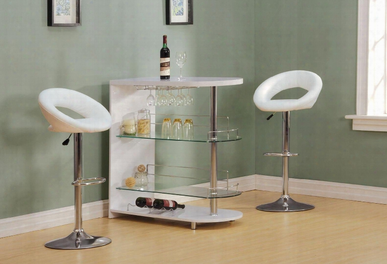 Yashvin Collection 71315t2s 3 Pc Bar Table Set With Bar Table + 2 Swivel Stools In White And Chrome