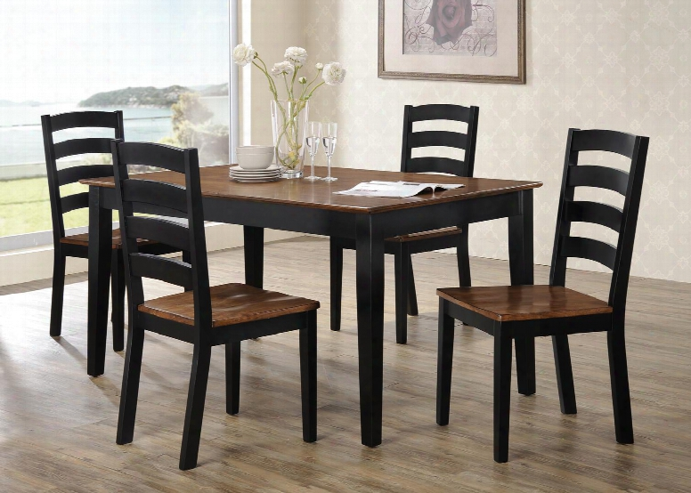 "5006-59tc 59"" Riichmond Dining Table And 4 Chairs With Block Feet Aand Distressed Detailing In Ebony And  Warm"