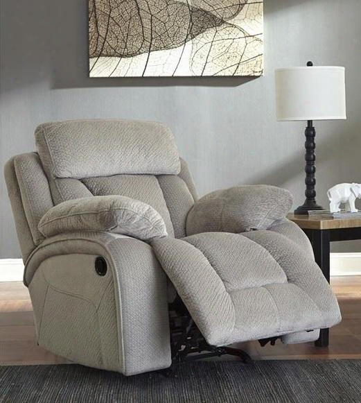 "8650498 Stricklin 41"" Power Rocker Reclinet With Piped Stitching Metal Frame And Fabric Upholstery In Pebble"