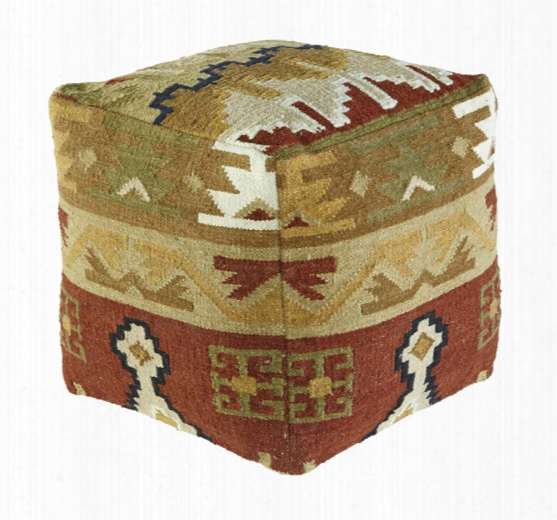 """Abner A1000206 19"""" Pouf Ottoman With Traditional Style Patchwork Kilim Design Wool Cover And Eps Bead Filling In"""