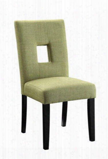 "Andenne 106653 24"" Side Chairs With Square Cutut Back Cushioned Seating Asian Hardwood Materials And Fabric Upholstery In Green"