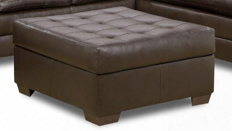 """Apollo 5122-095 38"""" Cocktail Ottoman With Hidden Storage Compartment Faux Leather And Block Feet In"""