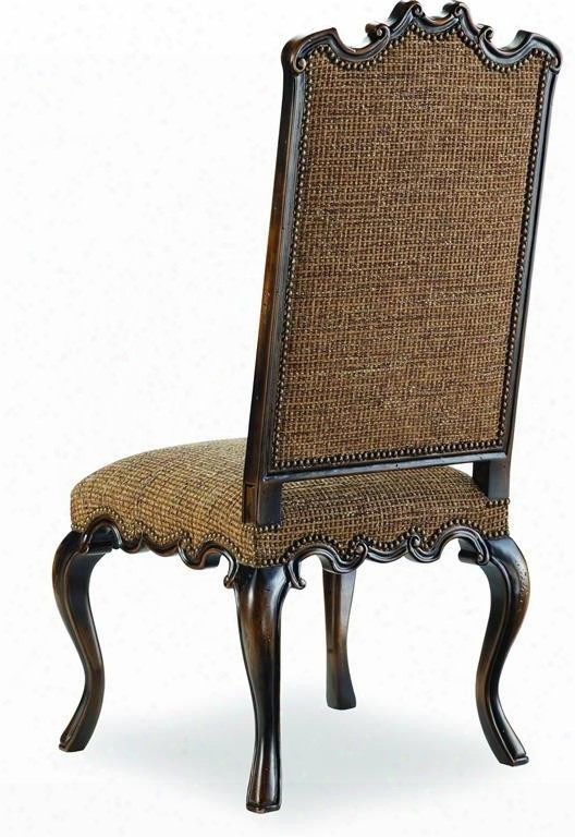 "Canterbury Series 200-351258 47"" Traditional-style Dining Room Side Chair With Nail Head Accents Cabriole Legs And Ems Tweed Fabric Upholstery In"