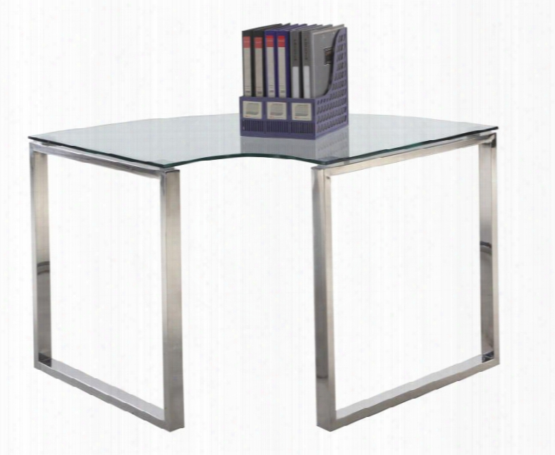 "Chintaly 6931-dsk-crn 40.94"" Corner Clear Glass Computer Desk With Stainless Steel Legs And Glass"