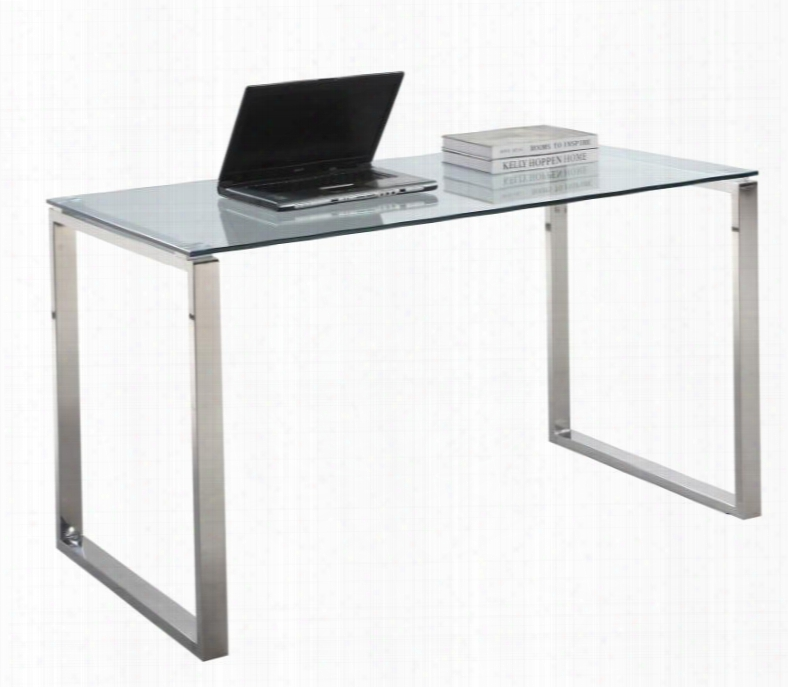 Chintaly 6931-dsk-lrg Large Clear Glass Computer Desk And Stainless Steel