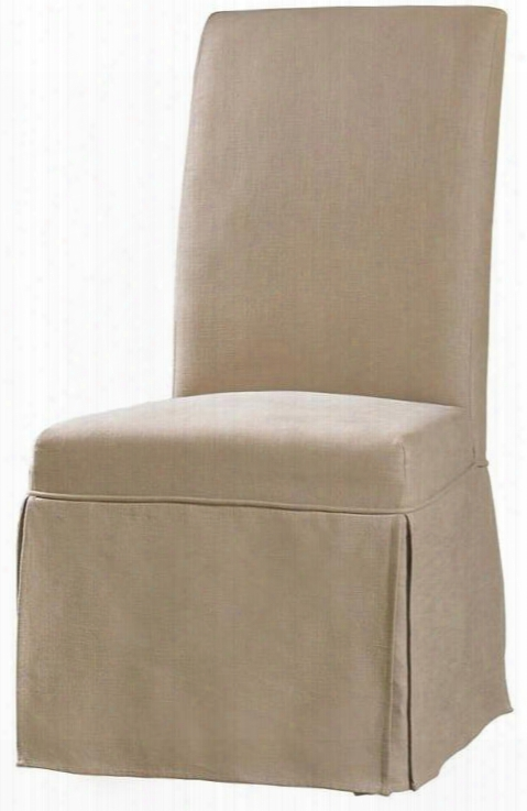 """Clarice Series 200-36-072 43"""" Casual-style Dining Room Skirted Chair With Wood Frame Piped Stitching And Fabric Upholstery In Beige Hemp"""