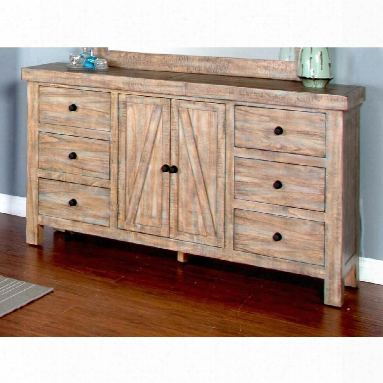 "Durango Collection 2307wb-d 68"" Dresser With 2 Doors 6 Drawers And Distreased Detailing In Weathered Brown"