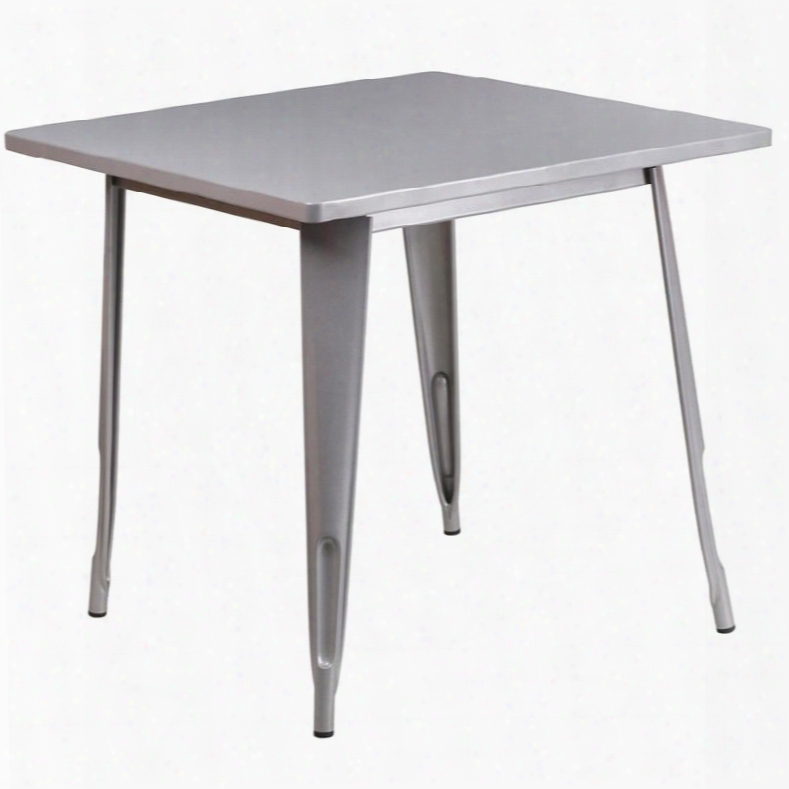 "Et-ct002-1-sil-gg 31.5"" Square Bar Table With 1"" Thick Edge Smooth Top Protective Rubber Floor Glides Metal Construction And Copper Powder Coat Finish In"