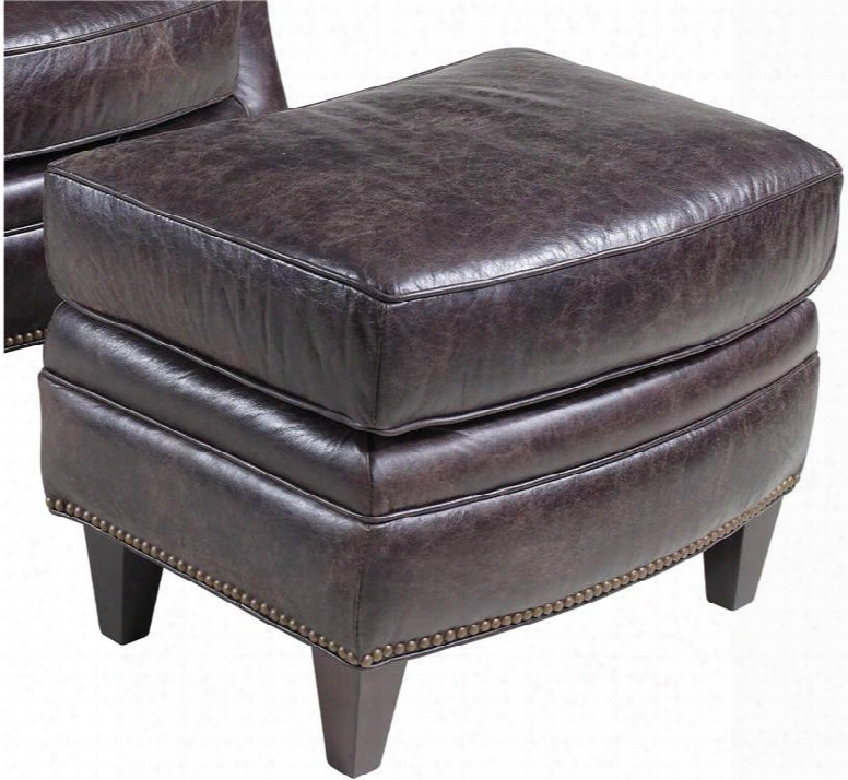 "Hollister Series Cc872-ot-093 25"" Traditional-style Living Room Mountain Ottoman With Tapered Legs Piped Stitching Accents And Leather Upholstery In Dark"
