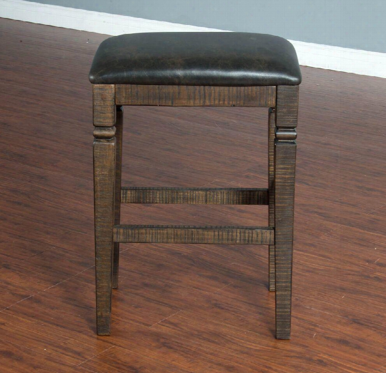 """Homestead Collection 1430tl-30 30"""" Backless Stool With Cushioned Seat Stretchers And Hand Sawn Distressing In Tobacco Leaf"""