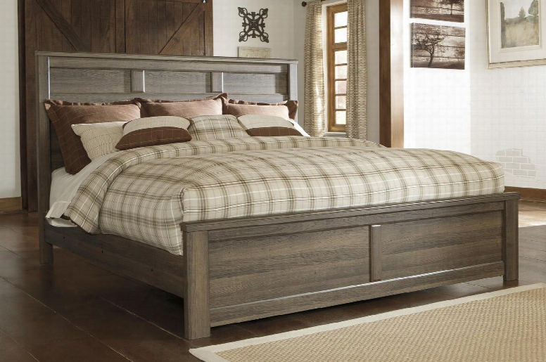 Juararo B251-56/58/94 California King Size Panel Bed With Replicated Oak Grain Details Vintage Aged Rough Sawn Finish And Raised Panel Details In Dark