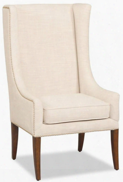 "Linosa Series 300-350014 46"" Traditional-style Living Room Linen Accent Chair With Nail Head Accents Wing Back And Fabric Upholstery In"