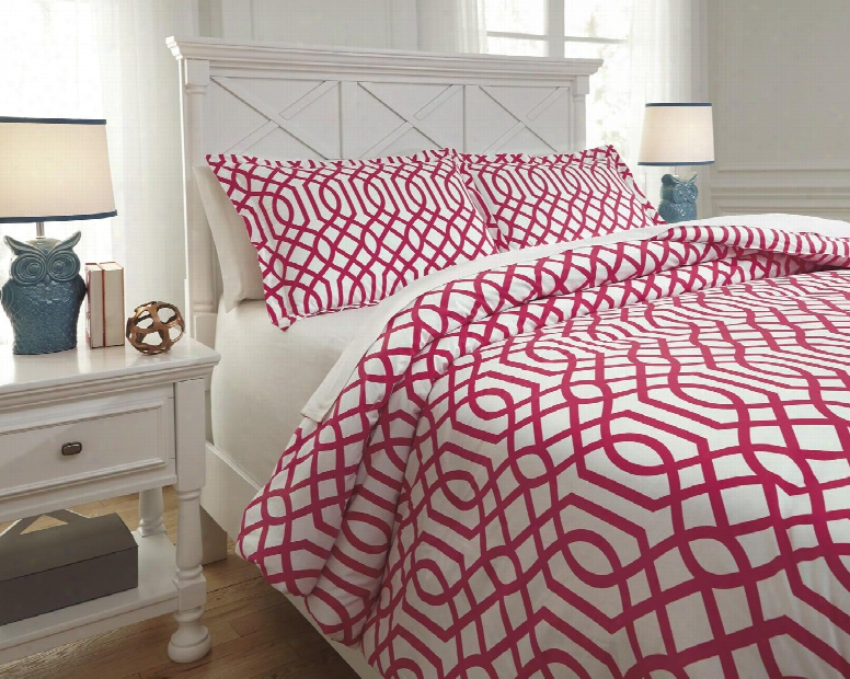 Loomis Q758043f 3 Pc Full Size Comforter Set Includes 1 Comforter And 2 Standard Shams With Geometric Design And 200 Thread Count Cotton Materia Lin Fuschia