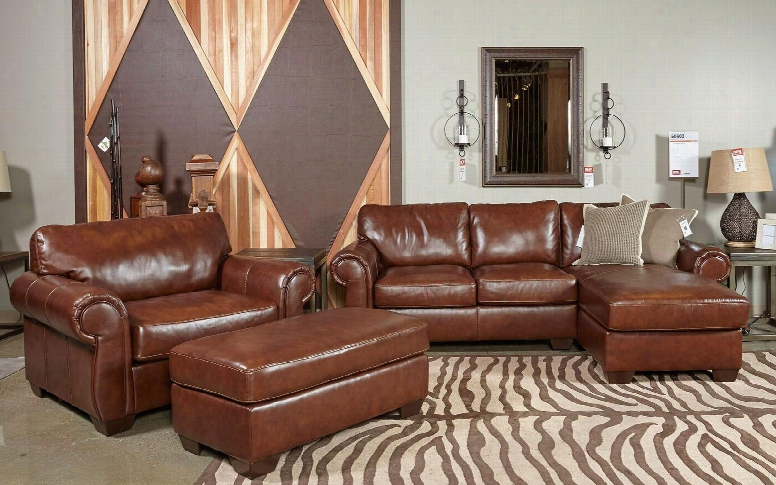 Lugoro 50602seccor 3-piece Living Room Set With Right Chaise Sectional Sofa Armchair And Ottoman In Saddle