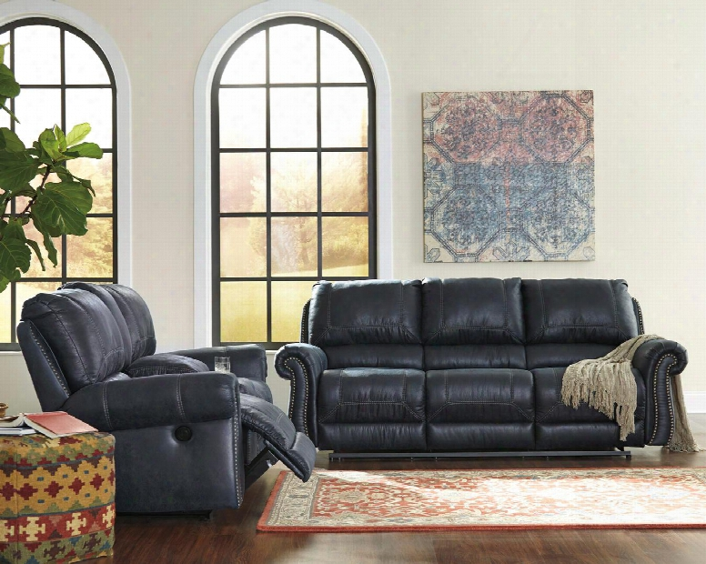 Milhaven 6330487sl 2 Pc Living Room Set With Reclining Power Sofa + Reclining Power Loveseat In Navy