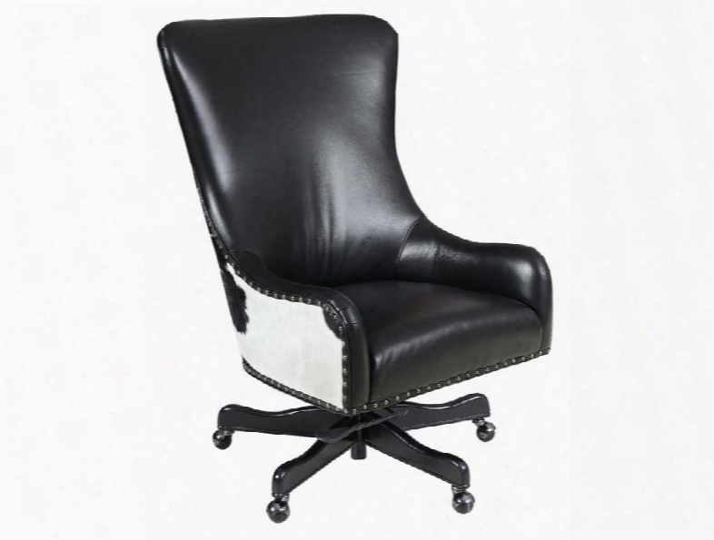"""Nouveau Series Ec420-099 45"""" Traditional-style Black Home Office Executive Swivel Tilt Chair With Black And White Hoh Casters And Leather Upholstery In"""