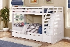 45165-WH-ABC Cosmo Twin Over Twin Standard Bunk Bed with Trundle and Storage