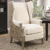 """Accent Seating 902491 32.75"""" Accent Chair with Wing Back Design Vintage Map Print Bronze Nail Head Trim and Fabric Upholstery in Beige"""