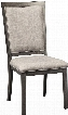 "Chadoni D624-01 21"" Dining Upholstered Side Chair with Metal Accents Textural Woven Fabric and Welt Cords in"