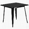 """ET-CT002-1-BK-GG 31.5"""" Square Bar Table with 1"""" Thick Edge Smooth Top Protective Rubber Floor Glides Metal Construction and Copper Powder Coat Finish in"""