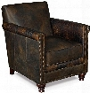 """Old Saddle Series CC719-01-089 34"""" Traditional-Style Living Room Fudge/Crocodile Leather Club Chair with Turned Legs Nail Head Accents and Leather Upholstery"""
