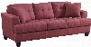 "Samuel Collection 505185 86"" Sofa with Tufted Cushions Accent Pillow Included Coil Seats Pine Wood Frame and Fabric Upholstery in Crimson"