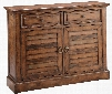 """Theodore 12630 44"""" 2-2-Chest with Fixed shelves Hand Painted Louvered Door Fronts and Bronze Ring Pull and Knobs in"""