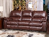 "Transister 5130215 90"" Leather Match Power Reclining Sofa with Adjustable Headrest Padded Arms and Split Back Design in Coffee"