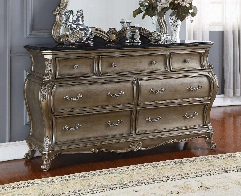 Roma Romad 70&quoot; Dresser With 7 Drawers Black Granite Top And French Provincial Hand Crafted Designs In Antique Silver