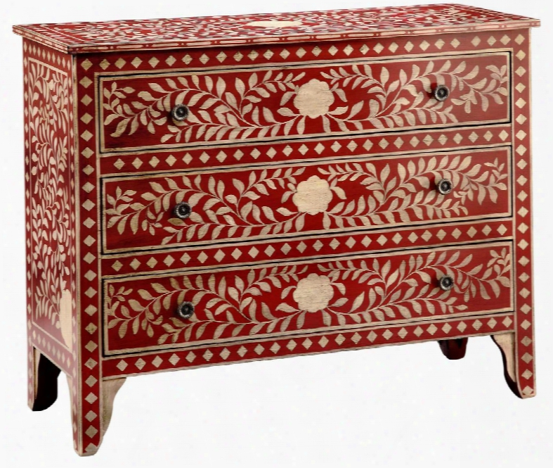 """Rombauer 3-12538 42&"""" Accent Chest With Floral Medallions Hand Painted And Leaf Design In"""
