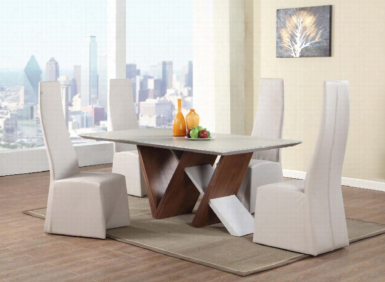 Ruby-5pc-wht Ruby Collection 5 Piece Set - Wooden Table With Frosted Glass And 4 White Fully Upholstered High Back Side