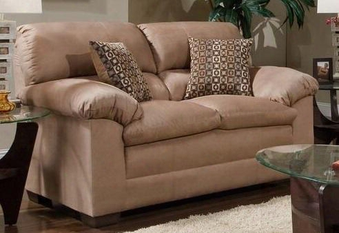 """Velocity 3685-02 66"""" Loveseat With Plush Padded Arms Microfiber Upholstery Tapered Legs In"""