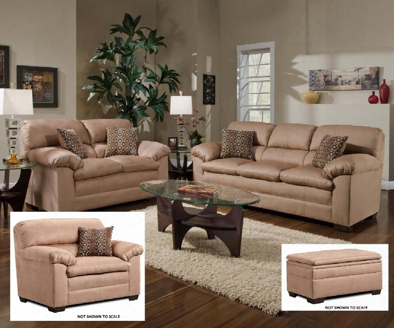 Velocity 3685-0302015095 4 Piece Set Including Sofa Chair And Ottoman With Microfiber Upholstery In