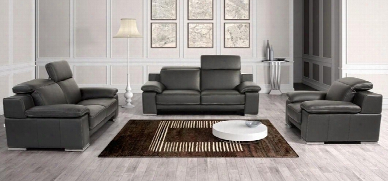 Vgntevergreenblk Estro Evergreen Sofa Set With Adjustable Headrests Contrast Stitching Stainless Steel Legs Nd Full Italian Leather In Panarea Black