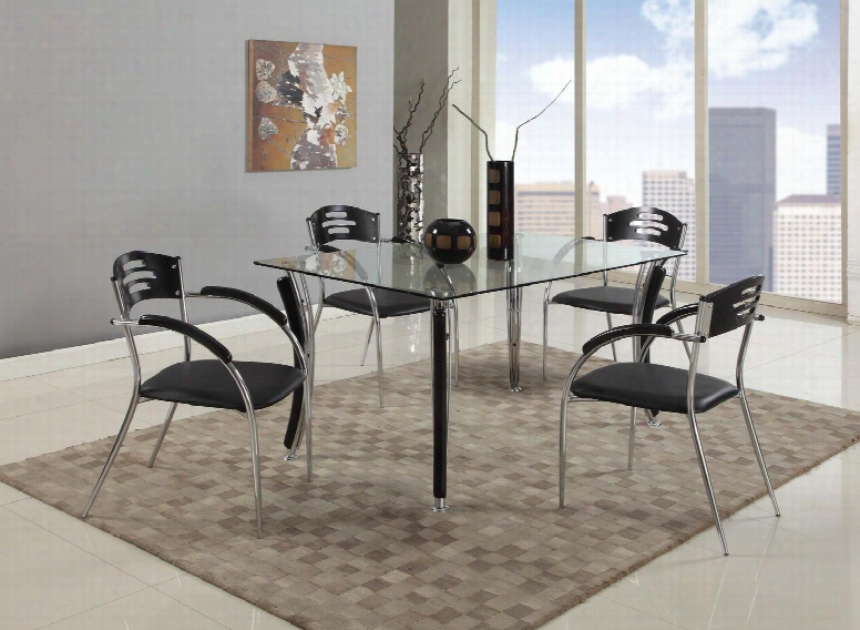 Yolanda-5 Pc Yolanda Dining 5 Piece Set - Rectangular Clear Glass Dining Table With 4 Black/chrome Solid Rubber Wood Arm