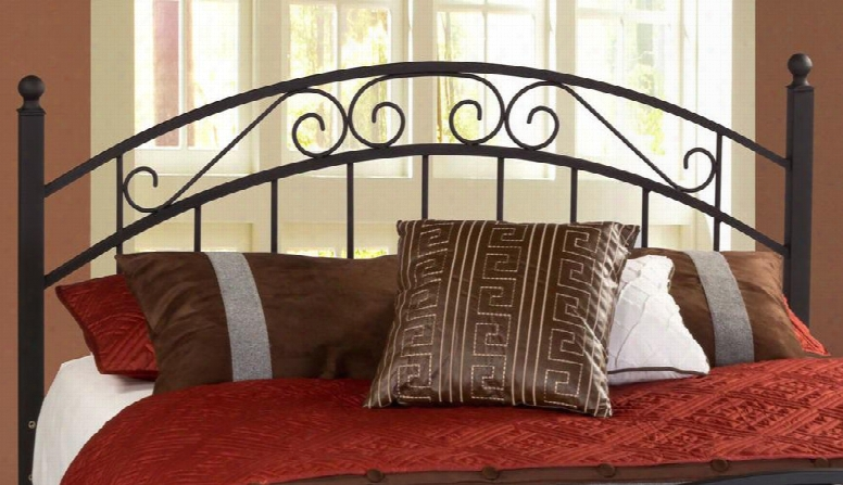 1142hkr Willow King Size Open-frame Headboard With Rails Included Scrollwork Straight Spindles And Metal Construction In Textured Black