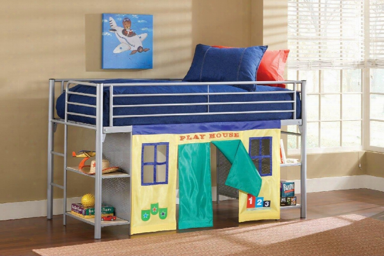 1178jrlb Brayden Junior Loft Bed With Cloth Doors Bookshelves Climb-up Ladder And Metal Construction In Silver