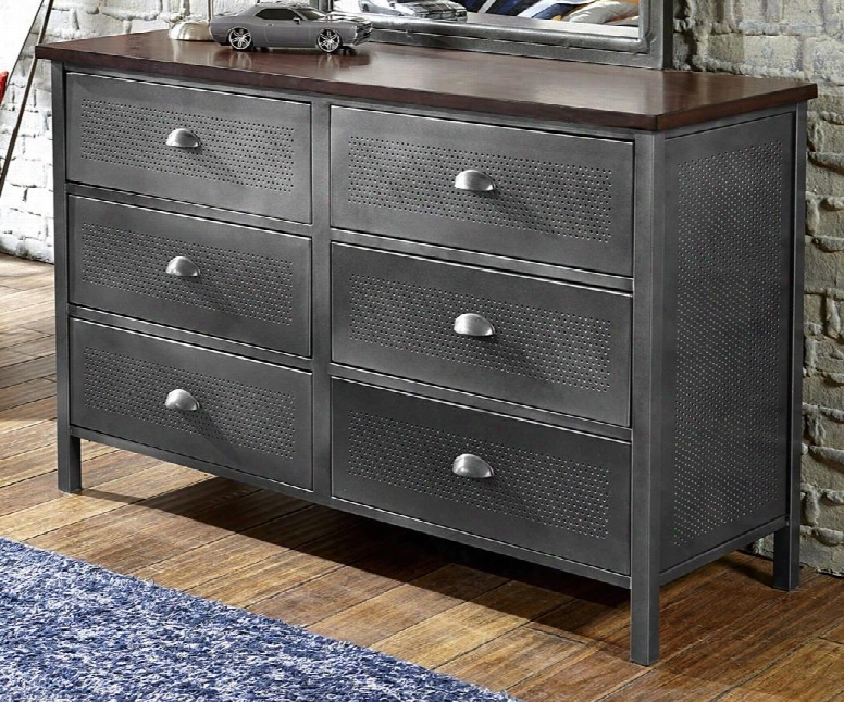 """1265-717r Urban Quarters 54.125"""" Dresser With 6 Drawers Antique Cherry Finished Top And Punched Hole Detailing In Black Steel"""