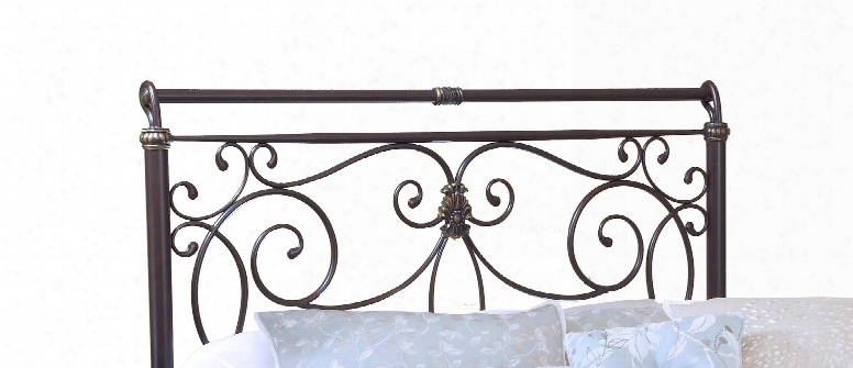 1643hfqr Brady Full/queen Size Headboard With Rails Included Free-flowing Scrollwork Intricate Castings And Tubular Steel Construction In Antique Bronze