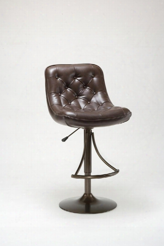 4290-831h Sapen Faux Leather Upholstered Adjustable Bar Stool With Metal Frame In