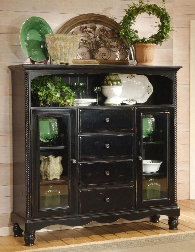 "4509-854 Wilshire 63.72"" Baker's Cabinet With 4 Drawers 2 Glass Doors 1 Open Compartment And Chilean Pine Construction In Rubbed Black"
