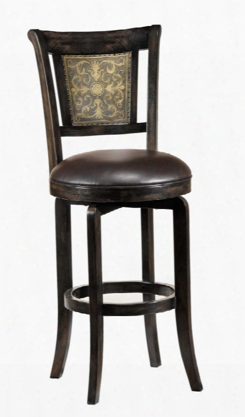 """4861-830  Camille 47"""" 360 Degree Swivel Bar Stool With Wood Frame In Dark"""