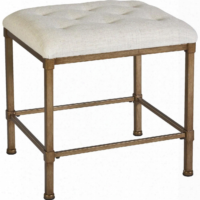 """50961 Katherine 15"""" Backless Vanity Stool With Oatmeal-hued Fabric Upholstery And Metal Construction In Golden Bronze"""