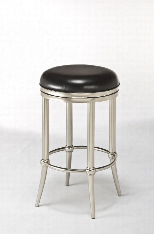 """5173-827 Cadman 26"""" 360 Degree Swivel Backless Counter Stool With Metal Frame In Dull"""
