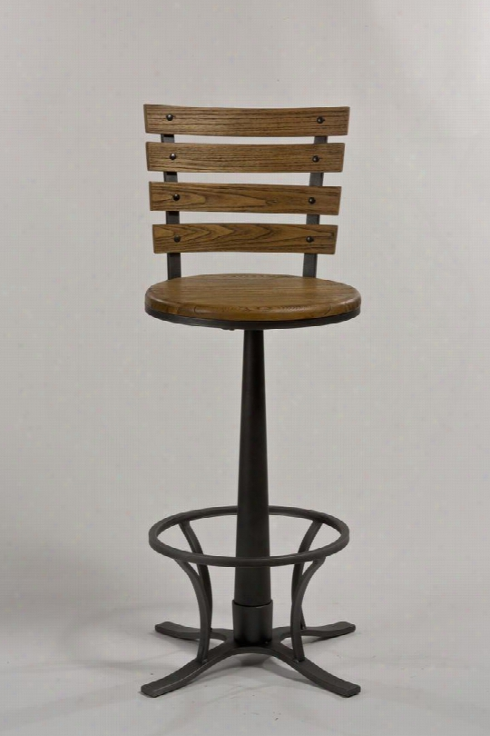 """54441-830 Westview 44"""" 360 Degree  Swivel Bar Stool With Wood And Metal Frame In Steeel"""
