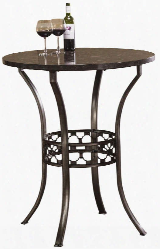 """5752ptb Brescello 36"""" Round Barh Eight Bistro Table With Tonal Blue Stone Mosaic And Metal Construction In Antique Pewter"""