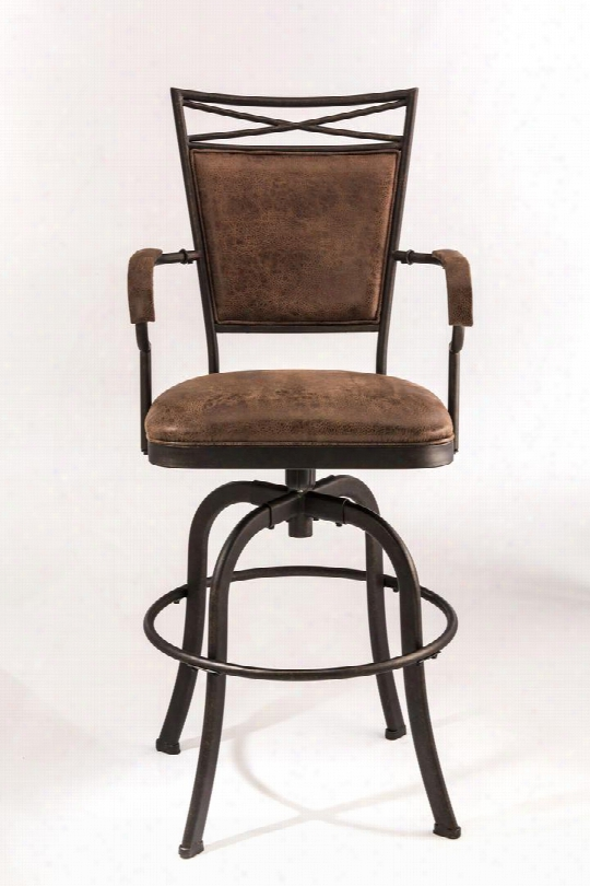"5759-830 Bridgetown 45""faux Leather Upholstered Tilt Base Bar Stool With Metal Frame In Aged"