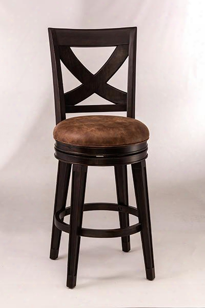 "5890-830 Santa Fe 48"" Swivel Faux Suede Upholstered Bar Stool With Wood Frame In Distressed"
