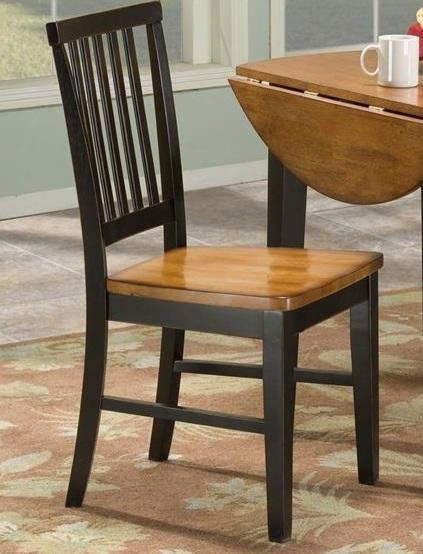 "Arlington Ar-ch-180-blj-rta 36.75"" Dining Room Slat Back Side Chair With Distressed Detailing Stretchers And Tapered Legs In Black Java"